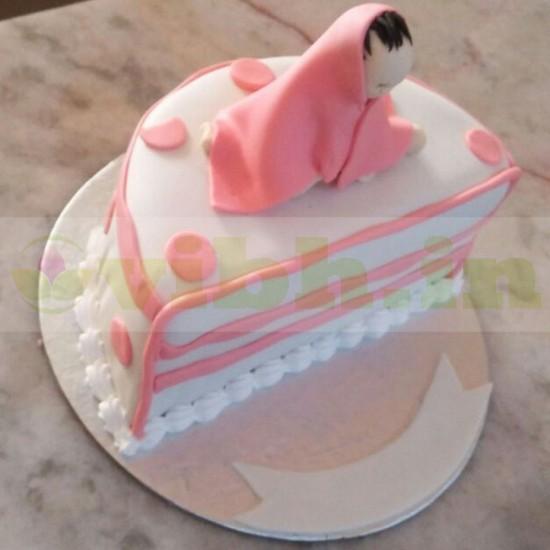 Outstanding Order Half Birthday Baby Fondant Cake Online From Vibh Gurugram Personalised Birthday Cards Veneteletsinfo