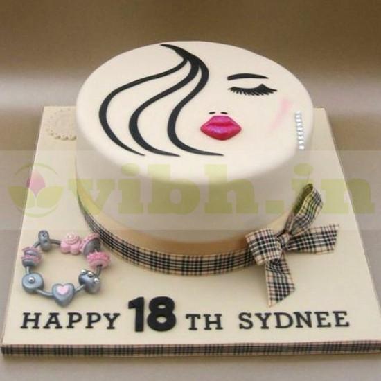 Fine Buy Lips Lashes Themed 18Th Birthday Cake Online In Gurugram Funny Birthday Cards Online Alyptdamsfinfo