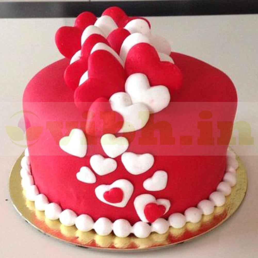 Magnificent Send Red White Heart Fondant Cake To Gurugram From Vibh Gurugram Funny Birthday Cards Online Alyptdamsfinfo