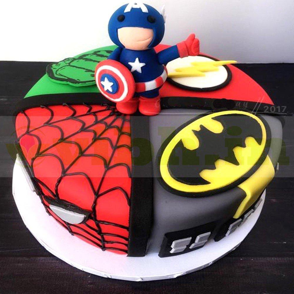 Pleasing Avengers Birthday Fondant Cake Online Delivery In Gurugram From Personalised Birthday Cards Akebfashionlily Jamesorg
