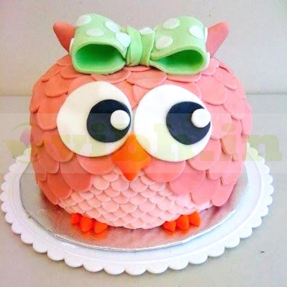 Tremendous Send Pink Owl Birthday Cake To Gurugram From Vibh Gurugram Funny Birthday Cards Online Amentibdeldamsfinfo