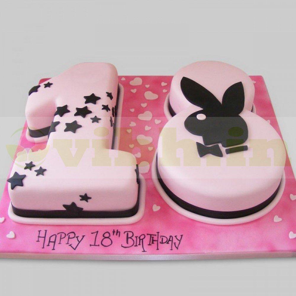Marvelous Send Happy 18Th Birthday Fondant Cake To Gurugram From Vibh Gurugram Personalised Birthday Cards Akebfashionlily Jamesorg